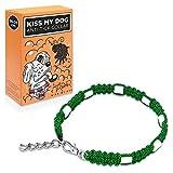 Kiss my dog - Collier Anti Tiques pour Chien - Antiparasitaire - Repulsif Naturel Non Toxique à Base de Céramique EM - Couleur Vert - Taille 30 cm