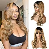 Ombre Wigs Long Wavy Lace Front Wigs Human Hair Thick 150% Density Glueless 13x4 Lace Frontal Wig with Dark Roots 22 Inch