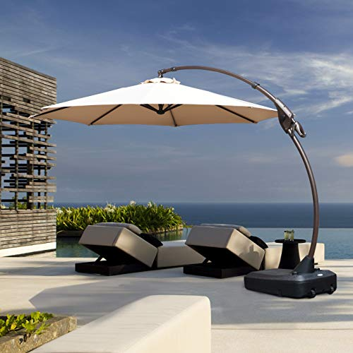 Grand Patio Deluxe NAPOLI 11 FT Curvy Aluminum Offset Umbrella, Patio Cantilever Umbrella with Base,...
