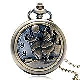 Reloj de Bolsillo de Cuarzo para Hombre, diseño de Perro Cazador con Bolsillo Hueco, Bici