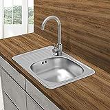 ECD Germany Fregadero de cocina 58 x 48 cm con juego de desagüe - lavabo a la derecha con sifón - soporte a la izquierda - acero inoxidable - pila lavadero platos manual empotrado con rebosadero