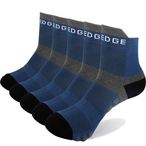YUEDGE 5 Paar Atmungsaktive Running Socken Sneakersocken Quarters Sportsocken für Herren und Damen (XL, Blau)