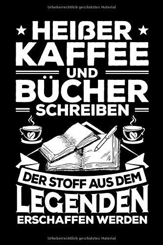 Heißer Kaffee und Bücher schreiben: A5   Notizbuch   Notizheft   Schreibblock   Journal   Tagebuch   Kariert   120 Seiten   Geschenk   Geschenkidee   Notebook   Autor   Schriftsteller   Schreiber