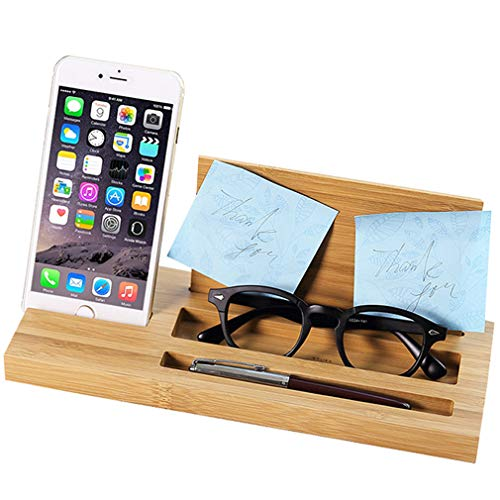 Chenqi Phone Stand Supporto Tablet Cellulare - iPad E-reader Pen Pencil Post it Desk Organizer - Wooden Bamboo Desktop Universal Home Office Tidy Supplies