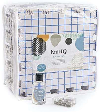 KnitIQ Standard Blocking Bundle with Wool Wash 9 Extra Thick Blocking Boards with Grids and product image
