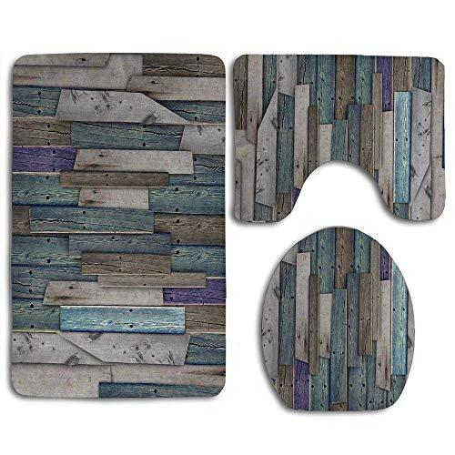 N\A Rustikales Bild von blau grau Grunge Holzplanken Scheune Haus Türnägel Landleben Thema drucken Bad Teppich Set 3PCS rutschfeste Badezimmer Teppich Kontur, Matte und...