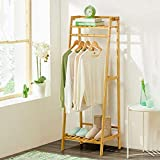 House of Quirk Bamboo Garment Coat Clothes Hanging Duty Rack with Top Shelf