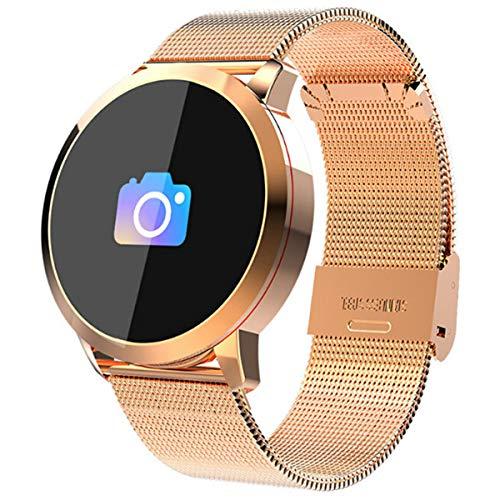 Smart Watch HD Farbdisplay Wasserdicht Fitness Tracker Damen Pulsmesser Smartwatch für Android IOS, Steel Gold
