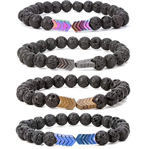 SEVENSTONE 8mm Lava Rock Bead Arrow Diffuser Natural Stone Bracelet Yoga Beads Elastic Jewelry Set for Women Men