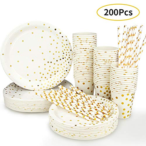 Disposable Paper Plates Party Supplies - Gold Metallic Foil Dots 50 Dinner Plates 50 Dessert Plates 50 Paper Straws and 50 9 Ounce Cups for Family Friend Work Birthday Party (200pcs)