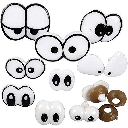 Funny Eyes - Sortiment, Größe 2-3 cm, mit Verschluss, 9 Stück