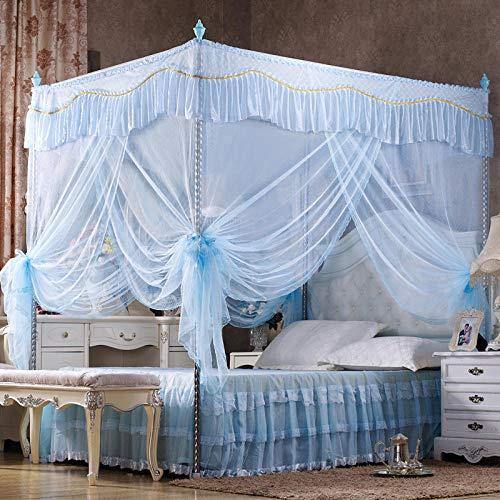 WUANNI Mosquitera Cama Matrimonio,Mosquitera de Tres Puertas Engrosada y elevada Princess Wind Square Top Mosquitera-Azul_1.2 * 2.0m-25mm