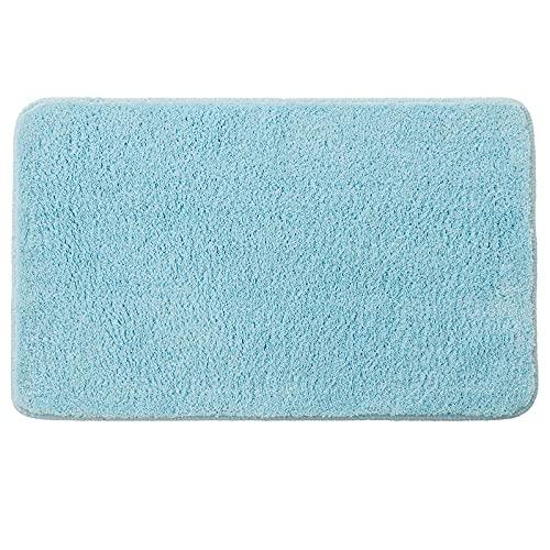 MIULEE Alfombra de Baño Antideslizante Absorbente Microfibra Alfombrilla Baño Lavable a Máquina Alfombra Ducha Baño Cocina Puertas de Entrada Pasillo para Dormitorio Salon Modernas 50x80 cm Azul Claro