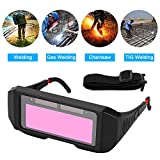 Ejoyous 1 Pair LCD Solar Power Auto Darkening Welding Goggle, Safety Protective Welder Glasses Mask Helmet with Adjustable Shade, Eyes Goggles Mask (Black)