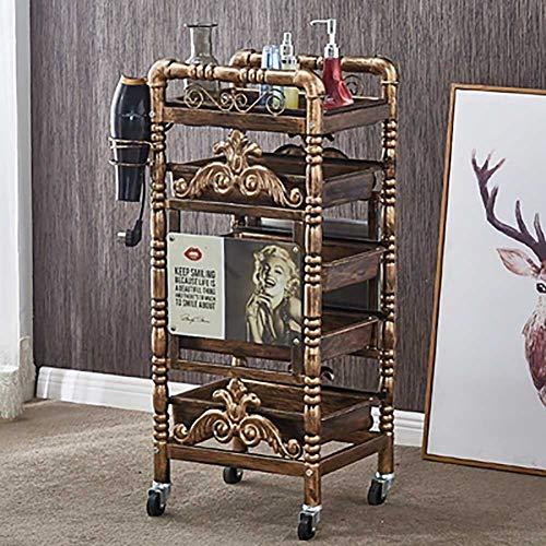 FYRS - Carrello da Salone Vintage per Parrucchiere, Parrucchiere, Barbiere, Bellezza e Spa, con 4 cassetti Estraibili Dorati, C