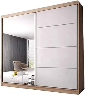 E-MEUBLES Armoire de Chambre avec 2 Portes coulissantes   Penderie (tringles) avec étagères (LxHxP): 233x218x61 K006 (Sono...