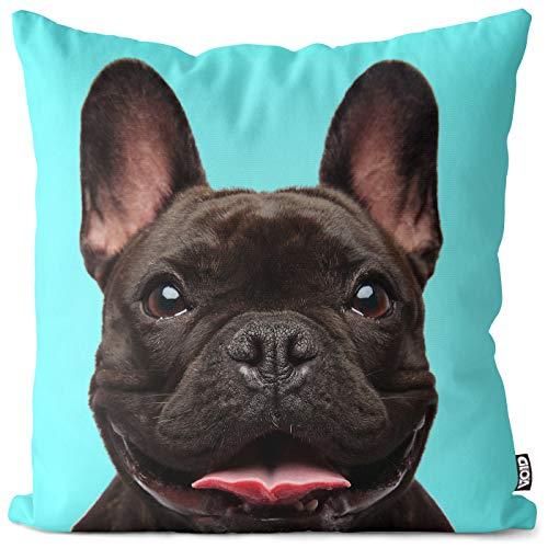 VOID Frenchie Bulldog Negro Funda de Almohada cojín poliéster Impermeable Exterior Indoor Protectores, Kissen Size:60 x 60 cm