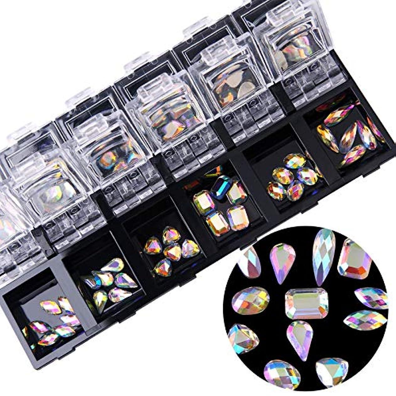 タオルアクティブ楽な1ボックスシルバーフラットバックネイルアートホログラフィックラインストーンジュエリーabクリスタルダイヤモンドジェルのヒントデコレーションケース
