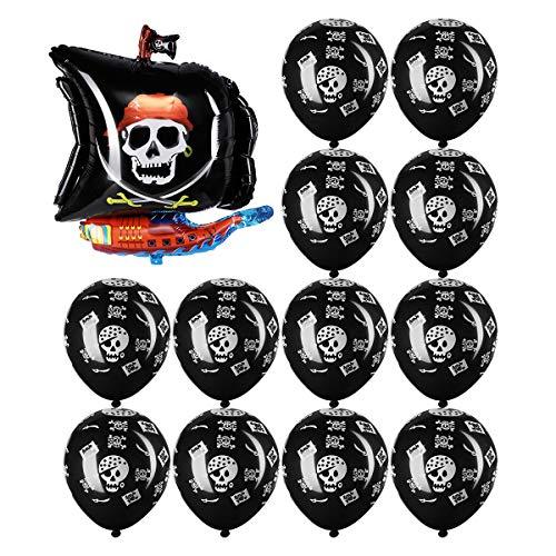 TOYMYTOY Pirat Thema Party Dekoration Luftballons - 1 Stück Piratenschiff, 12 Stück Schwarz Druck Latex Luftballons