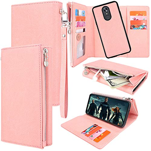 Lacass Premium Leather Flip Zipper Wallet Case Cover Stand Feature with Card Holder and Wrist Strap for LG Stylo 4 /Stylo 4 Plus/Q Stylus (2018) (Detachable Rose Gold)