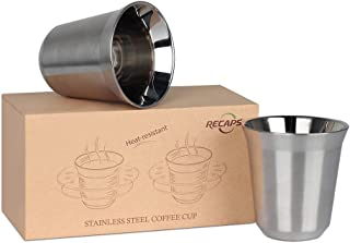 RECAPS 170ml 304 Stainless Steel Espresso Cups Set - 2 Pack Double Wall Stainless Steel Demitasse Cups