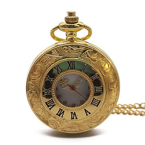 Shop-PEJ Caja Hueca Reloj de Bolsillo de Cuarzo Reloj de Hombre Collar de Oro Bolsillo de Oro y Relojes Fob Cadena Regalo Hombres Mujeres Reloj Colgante para el Esposo en el Aniversario