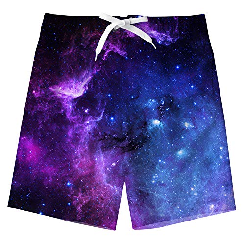 FanientNiños Adolescentes Pantalones Cortos con Estampado de Galaxia en Color 3D Pantalones Cortos de natación Pantalones Cortos de Playa de Verano Bañador