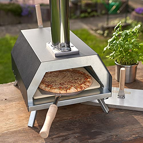 Foto von NEUSTEIN Outdoor Pizzaofen XQ3000 mit Pizzastein, Pizzaschieber, Holzofen, Mobiler Backofen, für Garten, Outdoor & Camping, Pellets, Kohle und Briketts geeignet