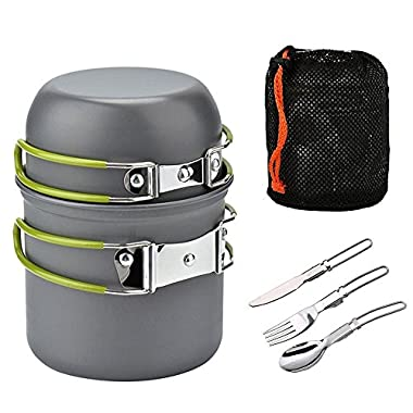 ECVILLA Camping Mess Kit and Cookware Set - Cooking Picnic Bowl Pot Pan Set 2 Piece