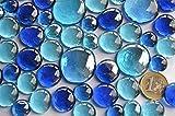 Bazare Masud e.K. 350g Glasnuggets Blaumix in 3 Versch. Größen 12-15mm, 17-21mm und 26-33 mm, ca. 81 Stück Dekosteine Glassteine, Muggelsteine - 3