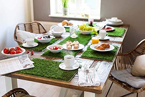 misento Tischset 6er Set 30 x 45 cm Kunstrasen Tischdecke Untersetzer Platzset abwischbar grün Ostern, 204003