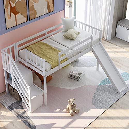 Multifunctional Design Low Loft Bed Frame Space Saving Wood Twin Floor Bed with 2-Step Staircase Storages, Left/Right Adjustable Slide,Safety Rails, Stairs & Storage Shelves for Kids Toddler (White)
