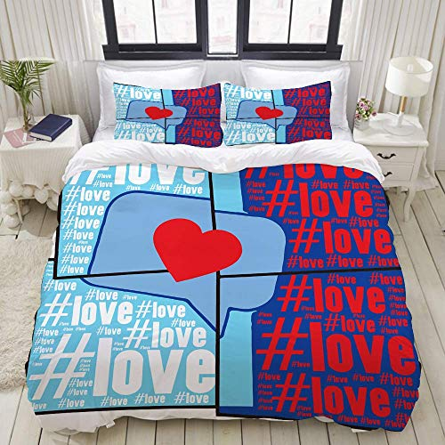 Nonun Duvet Cover,Hashtag Love Words with Message Sign Illustration on Mosaic Background,Bedding Set Ultra Comfy Lightweight Luxury Polyster Quilt Cover Sets (3pcs)