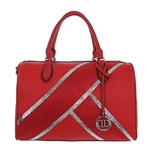 Ital-Design - Borsa a tracolla da donna in similpelle, Rosso (Colore: rosso), Taglia unica