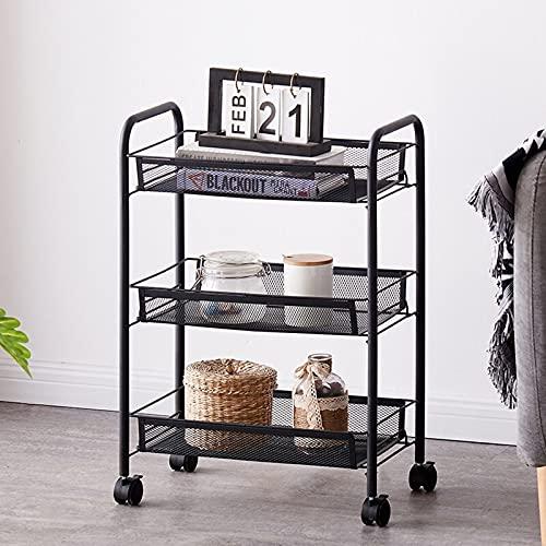 XGJJ Carrito de almacenamiento para cocina, 3 niveles, carrito de utilidad rodante, estante de almacenamiento para el hogar, ruedas organizador para baño multifunción estantería