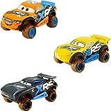 Disney Cars GBJ35 XRS Xtreme Racing Serie - Juego de carreras de barro con Jackson Storm, Cruz Ramírez, Speedy Comet, juguete a partir de 3