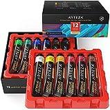 Arteza Acrylfarben, Set mit 12 Tuben, 22 ml Malfarbe pro Tube, hochwertige Acryl-Künstlerfarbe, zum Malen auf Leinwänden