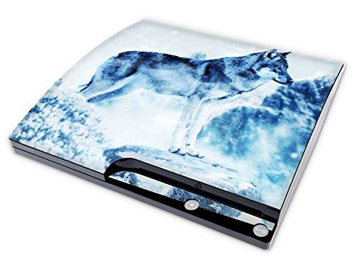 Skins4u Aufkleber Design Schutzfolie Vinyl Skin kompatibel mit Sony PS3 Playstation 3 Slim Konsole Snow Wolf