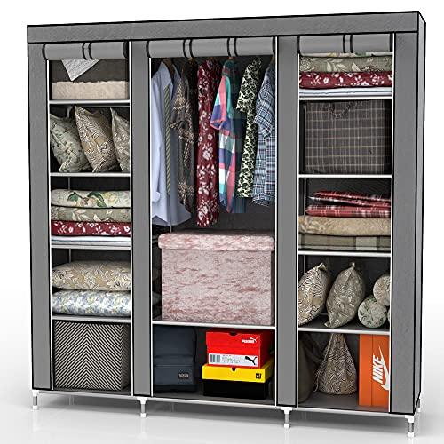 INTIRILIFE Faltschrank 150x175x45 cm in ASCH GRAU - mit Reißverschluss Stoffschrank Kleiderschrank mit Kleiderstange, Fächern und Seitentasche - Camping Steckschrank Textil Garderobe