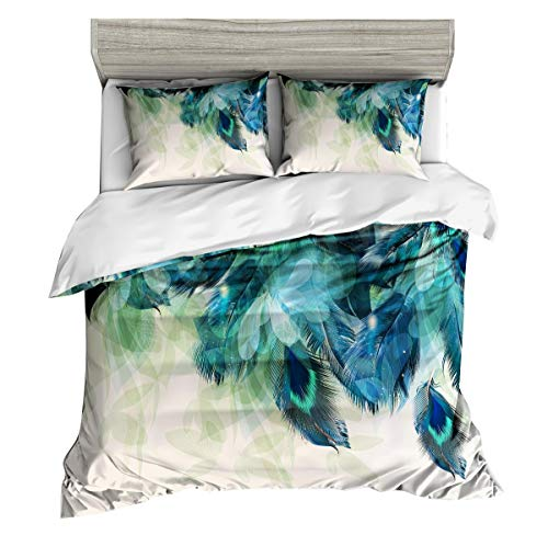 Pterygoid Collection Very Soft Fabric Quilt Duvet Cover Set Peacock Design Couple Bedding Sets Include Duvet Cover Pillowcases in Single Queen King Size
