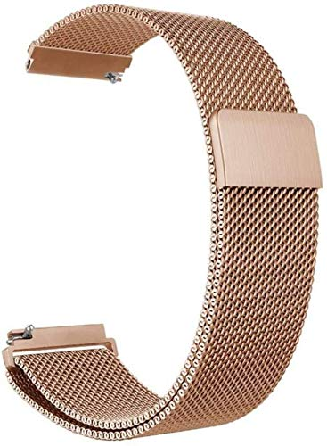 General Watch Band Stainless Steel Magnetic Absorption Loop Metal Mesh Watch Band Quick Release Strap for Galaxy Watch 46mm (Rose Gold, 22mm)