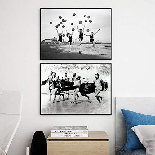 zuomo Chica Globo Tablas de Surf Carteles e Impresiones Fotografía en Blanco y Negro Vintage Pintura en Lienzo Cuadros de Pared nórdicos para Sala de Estar 50x70cm Sin Marco