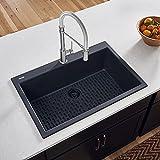 Ruvati 30 x 20 inch epiGranite Dual-Mount Granite Composite Single Bowl Kitchen Sink - Midnight Black - RVG1030BK