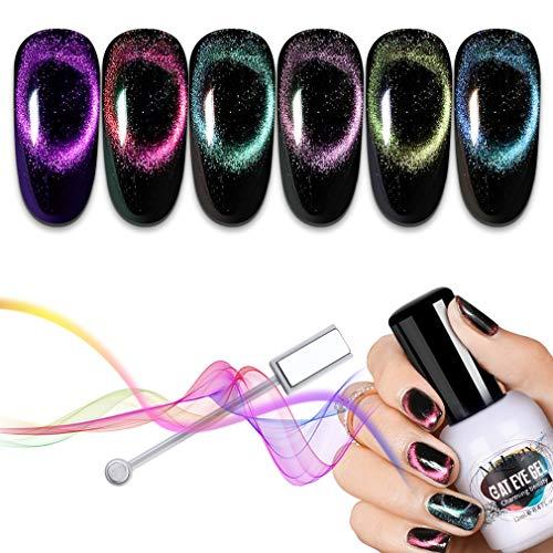 Mobray Cat Eye UV Gel Esmalte de uñas Set Chameleon Nail Gel UV LED Starry Glitter Esmalte de uñas en gel 6 piezas 12ml para Nail Art Salon Kit