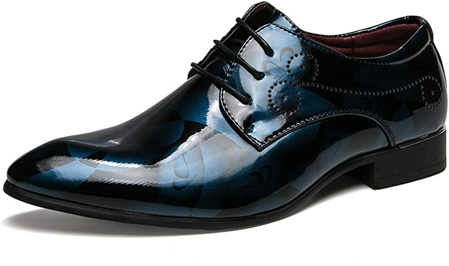 CHENXD shoes, Men's Fashion Anti-Skid Lace Up Pointed Toe Business Oxford Casual Patent Leather Formal shoes