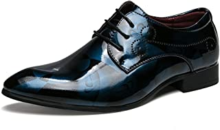 XinQuan Wang Men's Business Oxford Casual Fashion Anti-Skid Patent Leather Lace Up Formal Shoes (Color : Blue, Size : 8 UK)