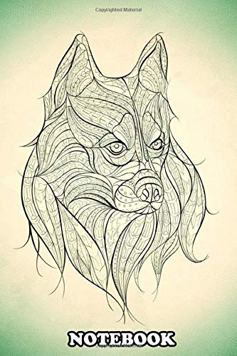 Notebook: Line Art Of A Husky In Inspired By Physical Facial , Journal for Writing, College Ruled Size 6