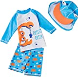 Baby Toddler Boys Two Pieces Swimsuit Set Crab Bathing Suit Rash Guards with Hat UPF 50+ (3-4 Years, Light Blue)