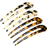 4 Pieces French U-shaped Hairpin with Two Prongs U Shape Hair Clips Chignon Pin Tortoise Shell U Sticks Pins for Women Girls Hairstyles
