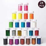 Seatek Glitzer-Puder-Set bunt, Glitter-Pulver in 24 Farben, Bastel-Staub in Dose mit Streu-Deckel, ideal Karten herstellen Dekorieren Deko usw